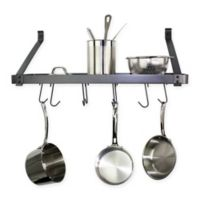 RACK-IT-UP! 30-Inch Straight Arm Wall-Mount Bookshelf Pot Rack with Hooks in Grey