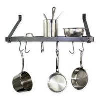 RACK-IT-UP! 24-Inch Straight Arm Wall-Mount Bookshelf Pot Rack with Hooks in Grey