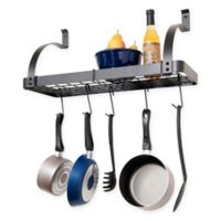 RACK-IT-UP! 30-Inch Curved Arm Wall-Mount Bookshelf Pot Rack with Hooks in Grey