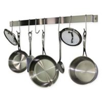 RACK-IT-UP! 32-Inch Utensil Bar Wall-Mount Pot Rack with Hooks in Stainless Steel
