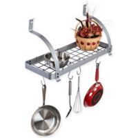 RACK-IT-UP! 24-Inch Curved Arm Wall-Mount Bookshelf Pot Rack with Hooks in Stainless Steel