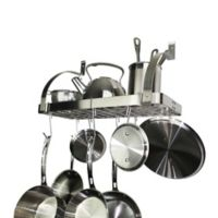 RACK-IT-UP! 24-Inch Curved Arm Wall-Mount Bookshelf Pot Rack with 8 Hooks in Stainless Steel