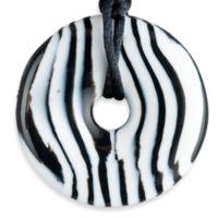 Teething Bling Doughnut Shaped Teething Pendant by Smart Mom Jewelry in Zebra