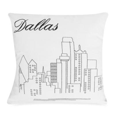 Passport Postcard Dallas Square Throw Pillow in Black/White