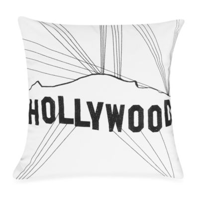 Passport Postcard Hollywood Square Throw Pillow in Black/White