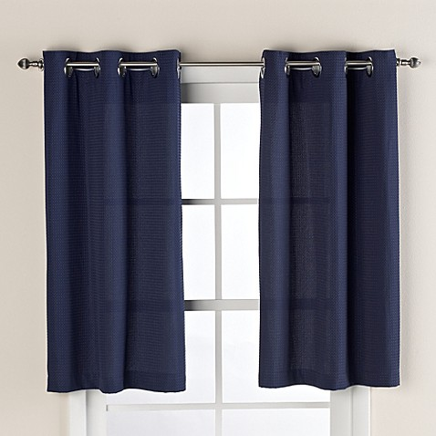 Hookless® Waffle 45-Inch Window Curtain in Navy Blue