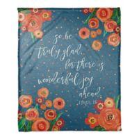 "Designs Direct ""Wonderful Joy Ahead"" Fleece Throw Blanket in Blue"