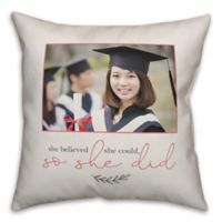 "Designs Direct ""She Believed She Did"" Square Throw Pillow in White"