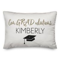 """Designs Direct """"Congradulations"""" Oblong Throw Pillow in White"""
