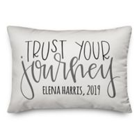 """Designs Direct """"Trust Your Journey"""" Oblong Throw Pillow in White"""