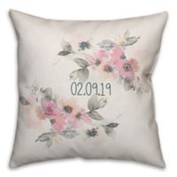 Designs Direct Light Watercolor Florals 18-Inch Square Throw Pillow