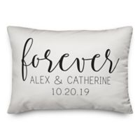"Designs Direct Simple Script ""Forever"" 14-Inch x 20-Inch Oblong Throw Pillow"