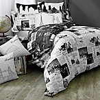Passport London and Paris Reversible Twin Duvet Cover Set in Black/White