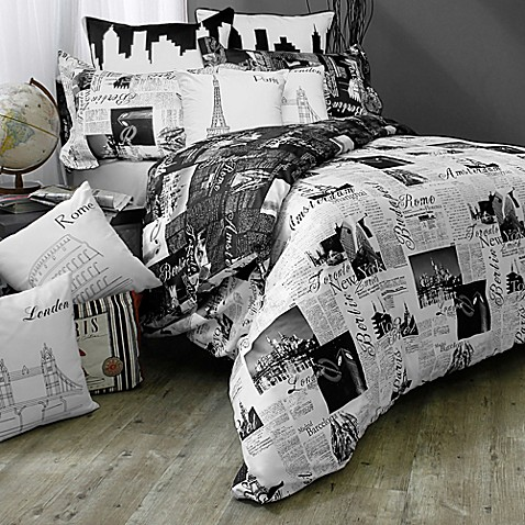 passport london and paris reversible duvet cover set in black white bed bath beyond. Black Bedroom Furniture Sets. Home Design Ideas