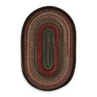 Capel Portland Vertical Stripe 1-Foot 8-Inch x 2-Foot 6-Inch Oval Indoor Braided Rug in Coal