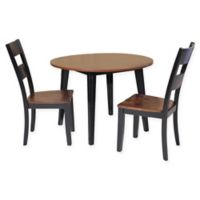 Caroline 3-Piece Dining Set with Drop-Leaf Table in Light Cherry/Black