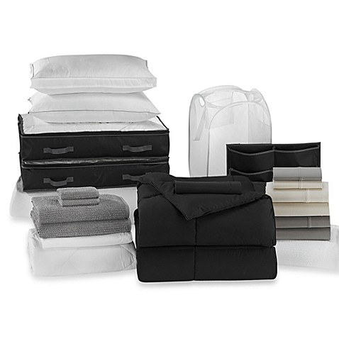 Solid Black 22-Piece Ultimate Dorm Room Kit
