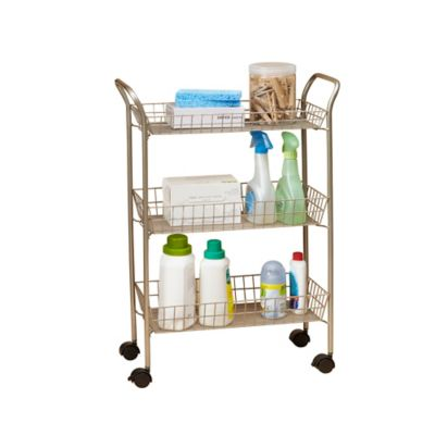 3 Tier Rolling Bath Cart With Locking Wheels In Matte Nickel