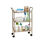 3-Tier Rolling Bath Cart with Locking Wheels in Matte Nickel