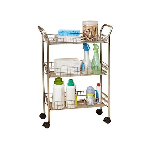 3 tier rolling bath cart with locking wheels in matte nickel bed bath beyond. Black Bedroom Furniture Sets. Home Design Ideas