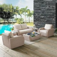 Crosley St. Augustine 6-Piece Resin Wicker Conversation Set with Oatmeal Cushions