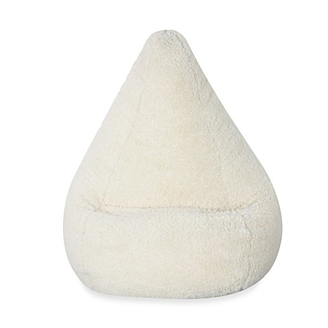 Large Cream Sherpa Bean Bag Chair Cover