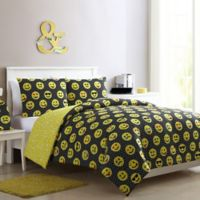 VCNY Home Facey Emoji Reversible Twin/Twin XL Comforter Set in Black