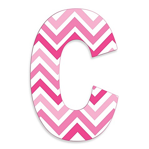 Stupell Industries Tri Pink Chevron 18 Inch Hanging Letter C Bed Bath amp Beyond