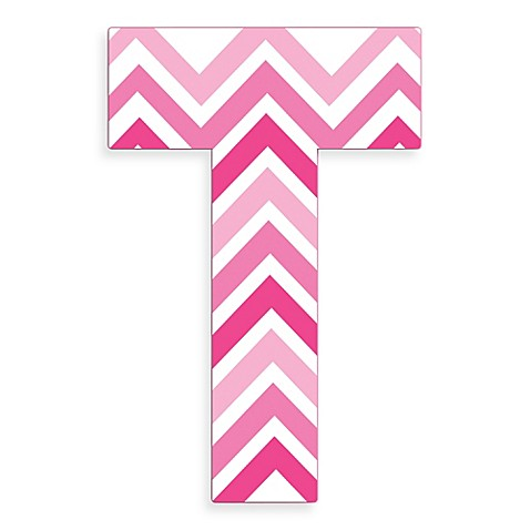 Stupell Industries Tri Pink Chevron 18 Inch Hanging Letter T Bed Bath amp Beyond