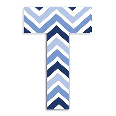 Stupell Industries Tri Blue Chevron 18 Inch Hanging Letter