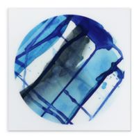 Blue Stripes 38-Inch Round Glass Wall Art
