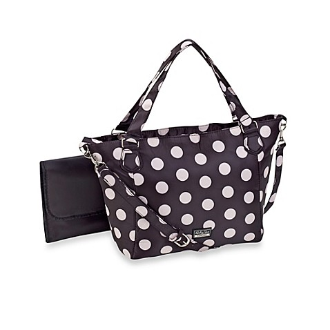 baby sac signature jayne black with white polka dot large diaper bag bed bath beyond. Black Bedroom Furniture Sets. Home Design Ideas
