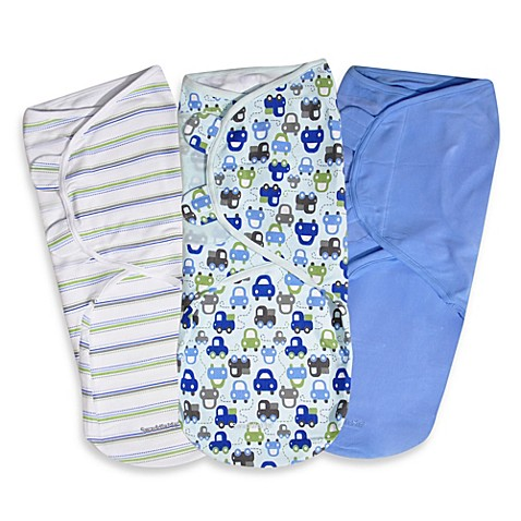 SwaddleMe® Large 3-Pack Adjustable Blankets in Graphic Car