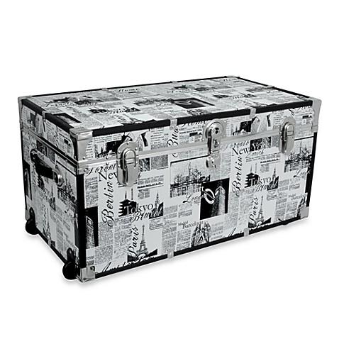 Storage Trunk with Wheels in Passport Print  sc 1 st  Bed Bath u0026 Beyond & Storage Trunk with Wheels in Passport Print - Bed Bath u0026 Beyond