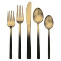 Skandia Biltmore Accents Satin 20-Piece Flatware Set in Black/Gold