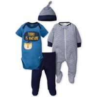 Gerber® Preemie 4-Piece Fox Bodysuit, Footie, Pant, and Cap Set in Blue