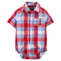 OshKosh B'gosh® Size 9M Plaid Bodysuit in Red/Blue