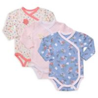 Asher And Olivia Preemie 3-Piece Kimono Bodysuits in Pink/Blue