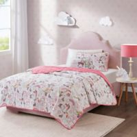 Mi Zone Peggy 4-Piece Reversible Coverlet Set in White/Pink