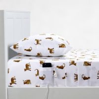 Campus Smart Cotton Leopard 250-Thread-Count Twin/Twin XL Sheet Set in Black/Brown