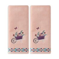 Wheelbarrow Hand Towels in Coral Pink (Set of 2)