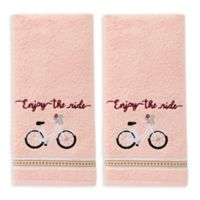 """""""Enjoy the Ride"""" Hand Towels in Coral Pink (Set of 2)"""