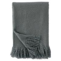 DKNY Faux Mohair Throw Blanket in Charcoal