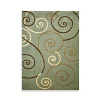 Concord Global Trading Scroll 2-Foot 7-Inch x 4-Foot 1-Inch Rug in Blue