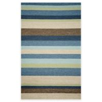 Trans-Ocean Stripe 8-Foot 3-Inch x 11-Foot 6-Inch Indoor/Outdoor Area Rug in Denim