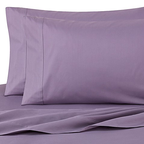 cotton percale sheet set in purple bed bath beyond. Black Bedroom Furniture Sets. Home Design Ideas
