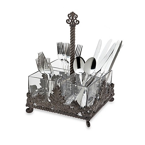 Godinger Dublin Crystal Flatware Caddy in Bronze