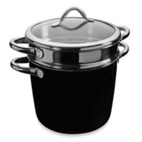 WMF Silit Ceramic Covered Pasta Pot with Stainless Steel Insert in Black