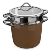 WMF Silit Ceramic Covered Pasta Pot with Stainless Steel Insert in Tan