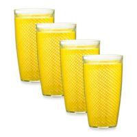 Kraftware™ Fishnet 22 Oz. Doublewall Drinkware in Yellow (Set of 4)